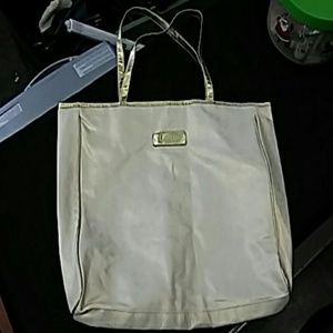 Clarins Tote Bag Cream Colored with Gold Accents